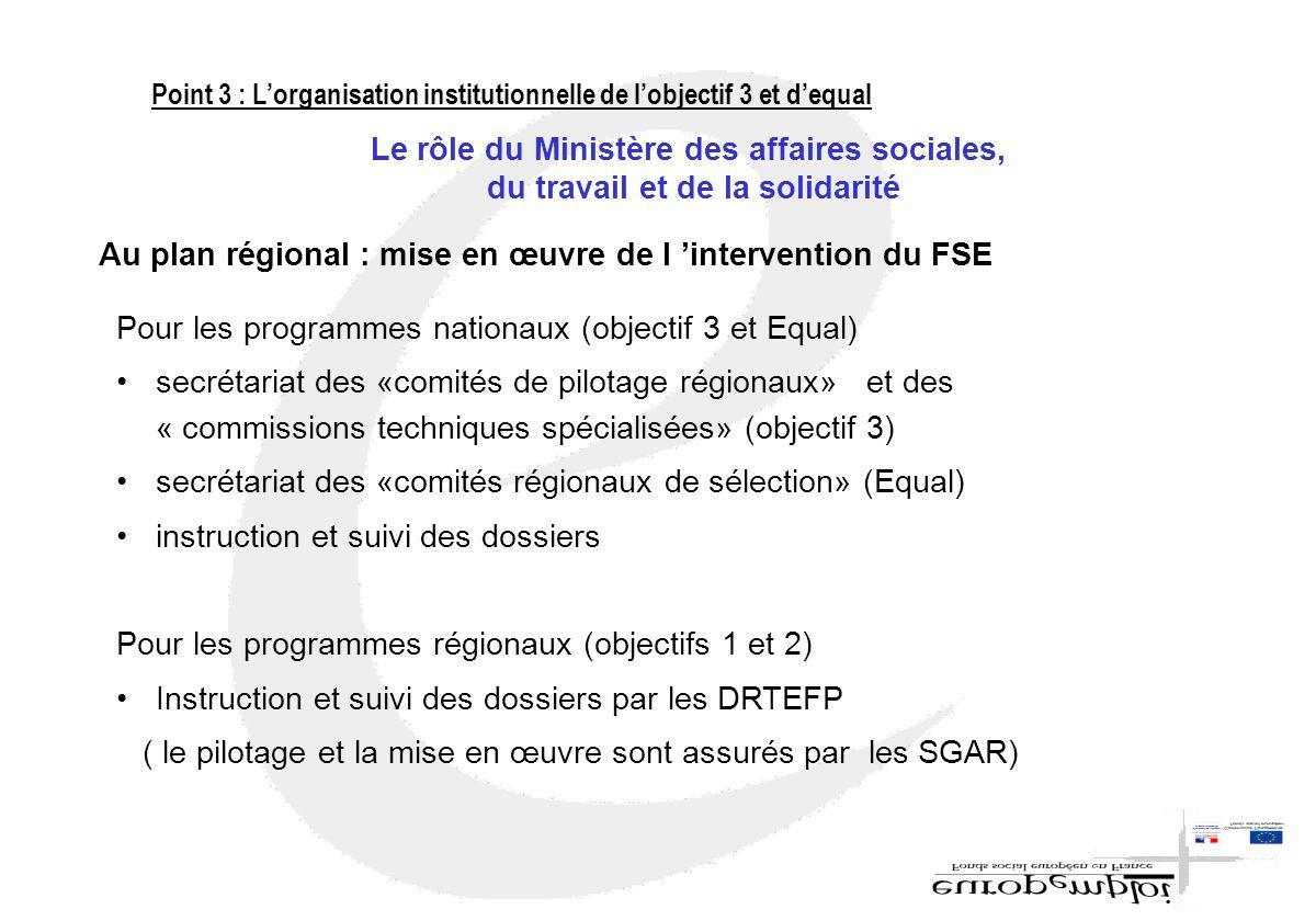 Pour les programmes nationaux (objectif 3 et Equal) secrétariat des «comités de pilotage régionaux» et des « commissions techniques spécialisées» (obj