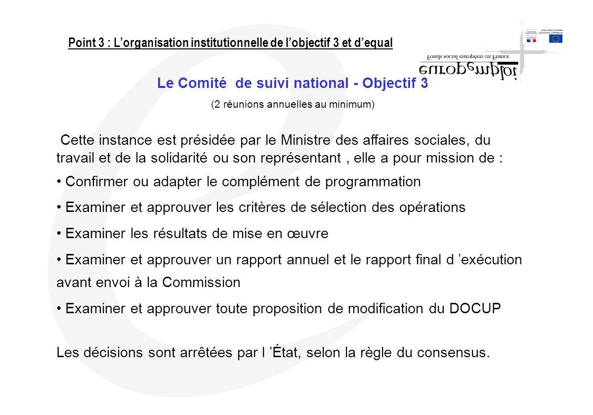 Le Comité de suivi national - Objectif 3 (2 réunions annuelles au minimum) Cette instance est présidée par le Ministre des affaires sociales, du trava