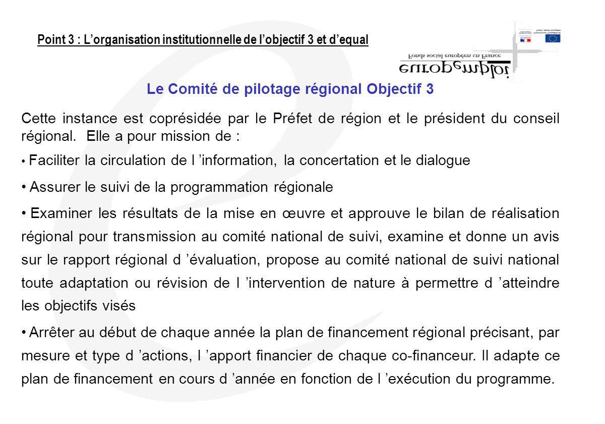 Le Comité de pilotage régional Objectif 3 Cette instance est coprésidée par le Préfet de région et le président du conseil régional. Elle a pour missi