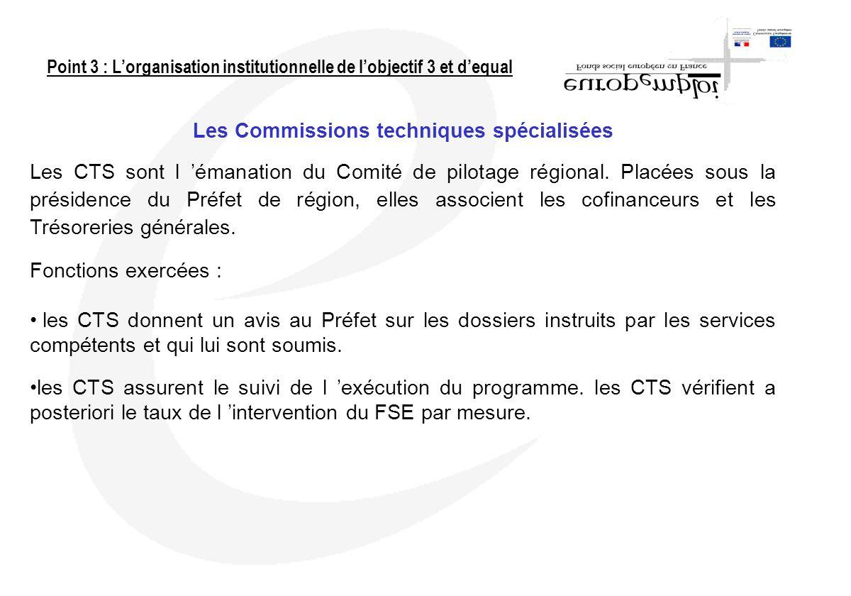 Les Commissions techniques spécialisées Les CTS sont l émanation du Comité de pilotage régional. Placées sous la présidence du Préfet de région, elles
