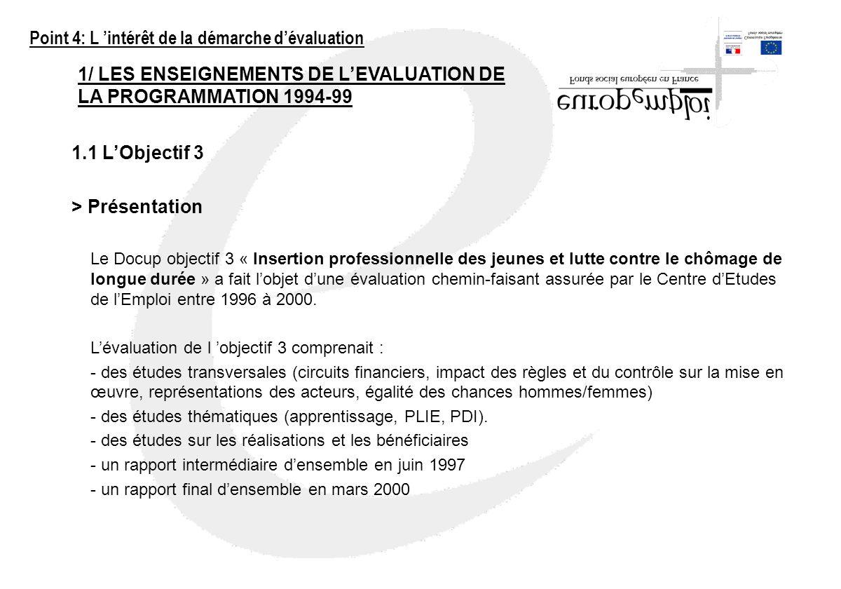 1/ LES ENSEIGNEMENTS DE LEVALUATION DE LA PROGRAMMATION 1994-99 1.1 LObjectif 3 > Présentation Le Docup objectif 3 « Insertion professionnelle des jeu