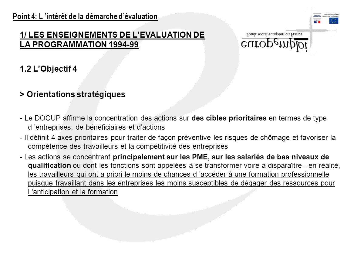 1/ LES ENSEIGNEMENTS DE LEVALUATION DE LA PROGRAMMATION 1994-99 1.2 LObjectif 4 > Orientations stratégiques - Le DOCUP affirme la concentration des ac