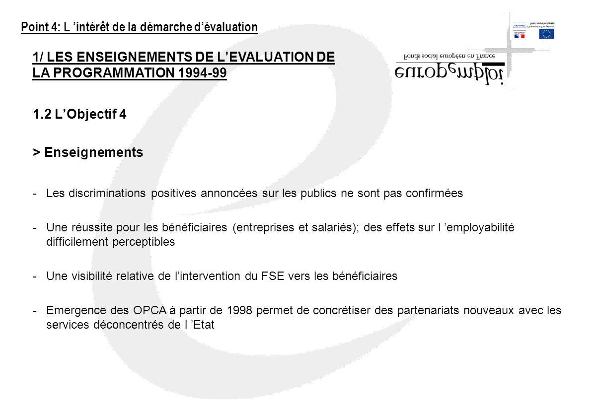 1/ LES ENSEIGNEMENTS DE LEVALUATION DE LA PROGRAMMATION 1994-99 1.2 LObjectif 4 > Enseignements -Les discriminations positives annoncées sur les publi
