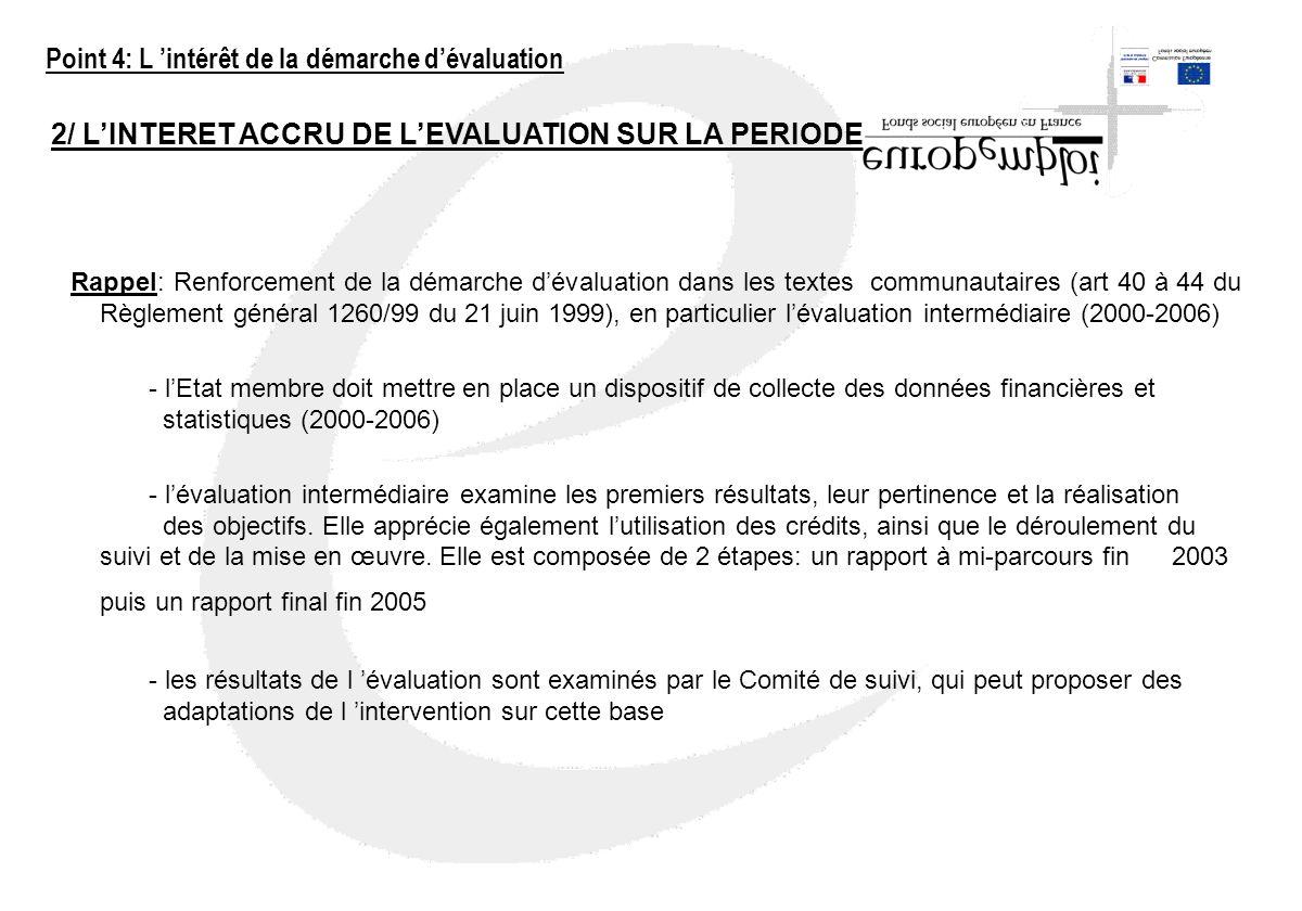 2/ LINTERET ACCRU DE LEVALUATION SUR LA PERIODE 2000-2006 Rappel: Renforcement de la démarche dévaluation dans les textes communautaires (art 40 à 44