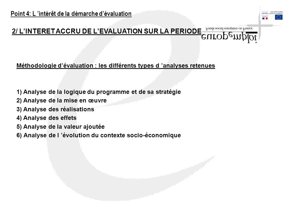 2/ LINTERET ACCRU DE LEVALUATION SUR LA PERIODE 2000-2006 Méthodologie dévaluation : les différents types d analyses retenues 1) Analyse de la logique