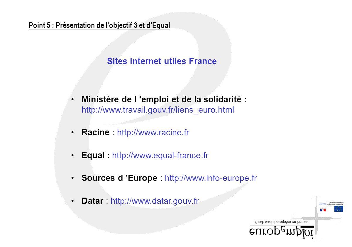 Sites Internet utiles France Ministère de l emploi et de la solidarité : http://www.travail.gouv.fr/liens_euro.html Racine : http://www.racine.fr Equa
