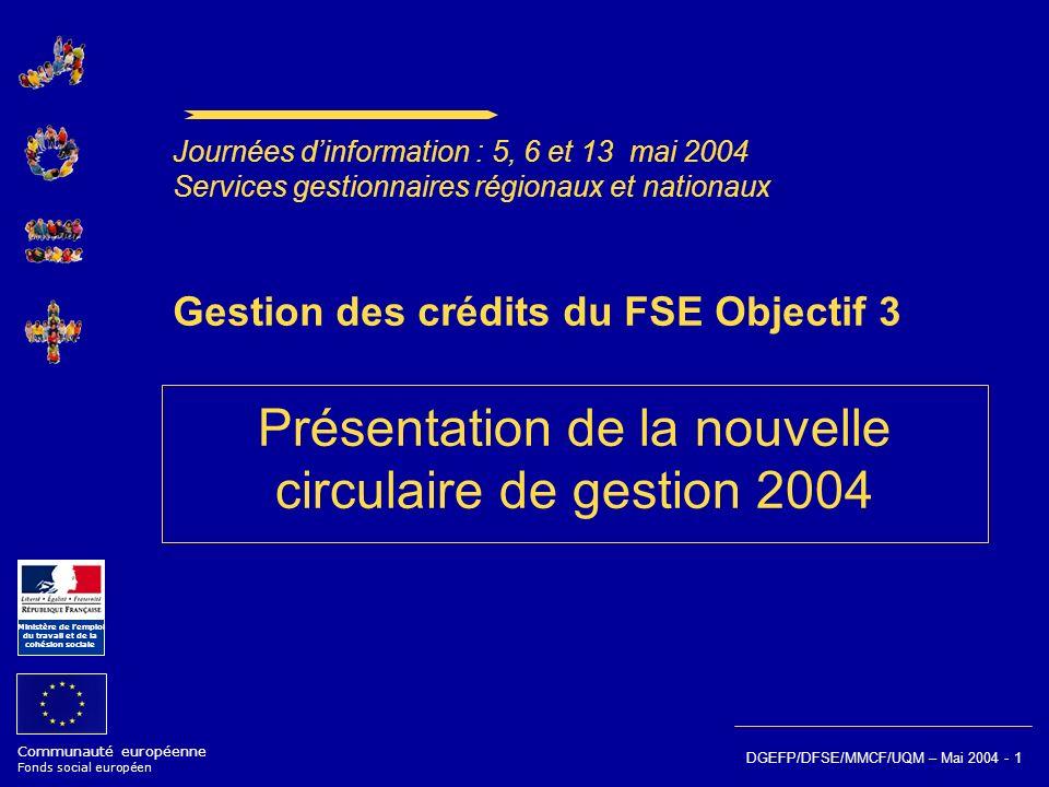 Communauté européenne Fonds social européen Ministère de lemploi du travail et de la cohésion sociale DGEFP/DFSE/MMCF/UQM – Mai 2004 - 1 Gestion des c