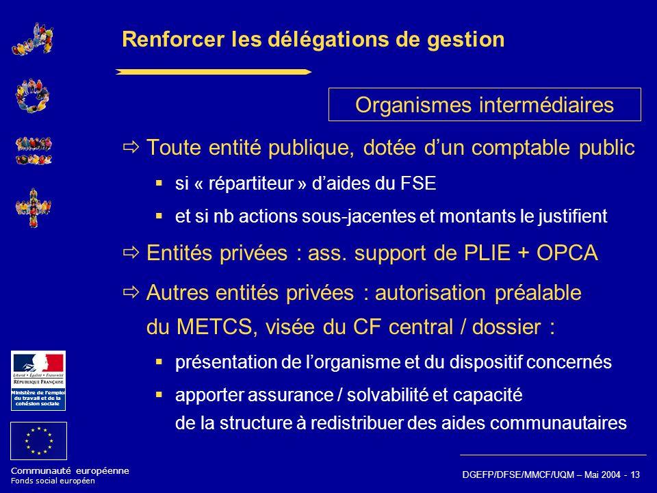Communauté européenne Fonds social européen Ministère de lemploi du travail et de la cohésion sociale DGEFP/DFSE/MMCF/UQM – Mai 2004 - 13 Renforcer le