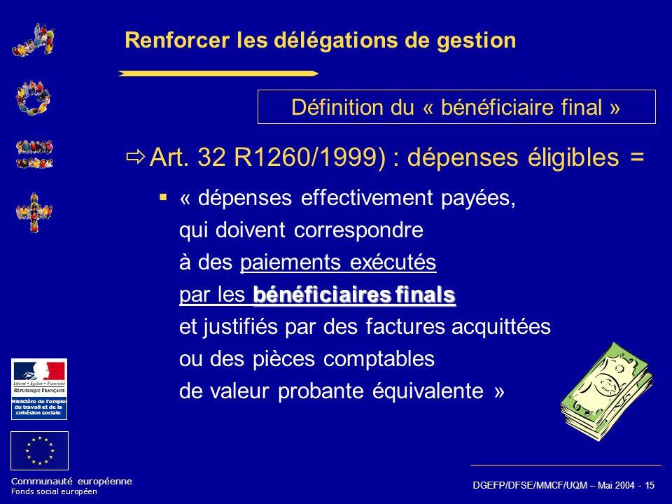 Communauté européenne Fonds social européen Ministère de lemploi du travail et de la cohésion sociale DGEFP/DFSE/MMCF/UQM – Mai 2004 - 15 Renforcer le