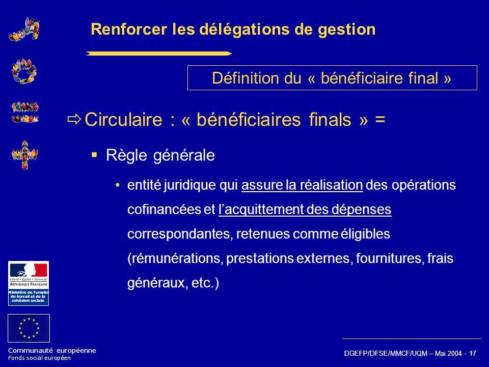 Communauté européenne Fonds social européen Ministère de lemploi du travail et de la cohésion sociale DGEFP/DFSE/MMCF/UQM – Mai 2004 - 17 Renforcer le