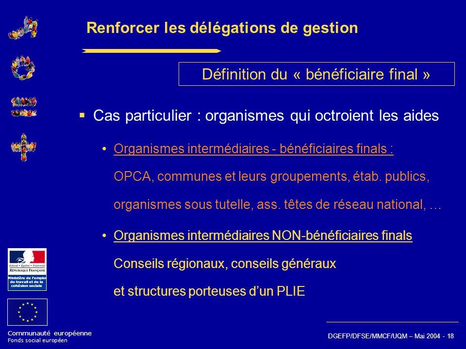 Communauté européenne Fonds social européen Ministère de lemploi du travail et de la cohésion sociale DGEFP/DFSE/MMCF/UQM – Mai 2004 - 18 Renforcer le