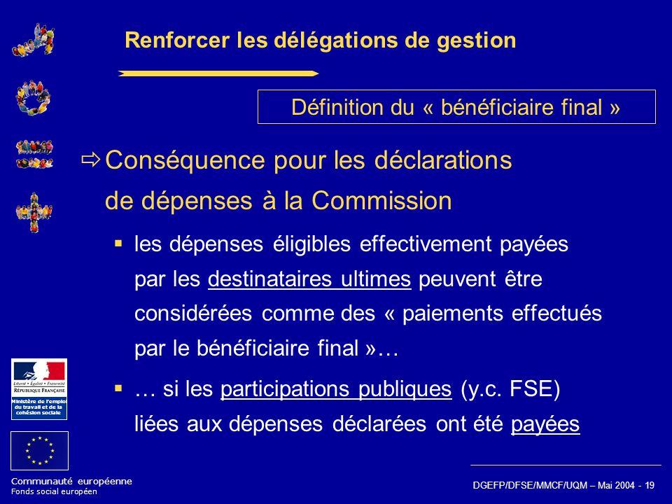 Communauté européenne Fonds social européen Ministère de lemploi du travail et de la cohésion sociale DGEFP/DFSE/MMCF/UQM – Mai 2004 - 19 Renforcer le
