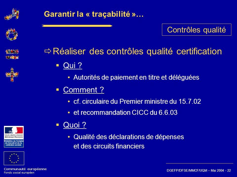 Communauté européenne Fonds social européen Ministère de lemploi du travail et de la cohésion sociale DGEFP/DFSE/MMCF/UQM – Mai 2004 - 22 Garantir la