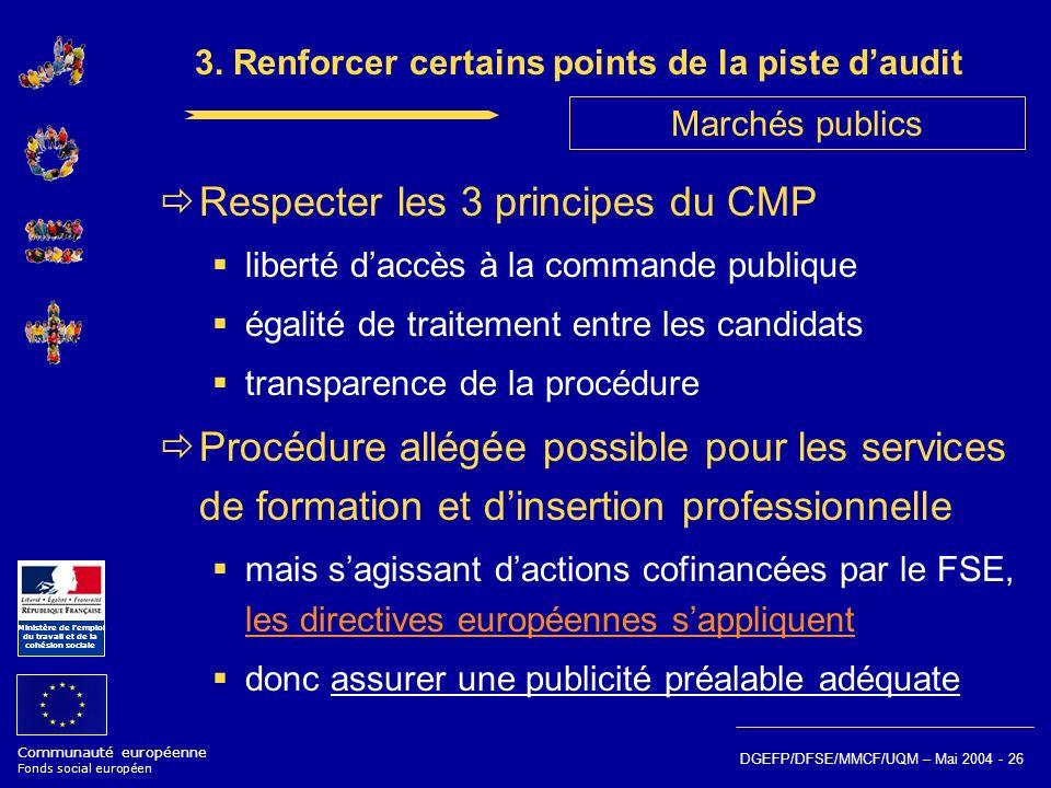 Communauté européenne Fonds social européen Ministère de lemploi du travail et de la cohésion sociale DGEFP/DFSE/MMCF/UQM – Mai 2004 - 26 3. Renforcer