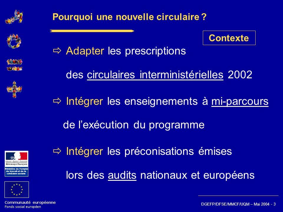 Communauté européenne Fonds social européen Ministère de lemploi du travail et de la cohésion sociale DGEFP/DFSE/MMCF/UQM – Mai 2004 - 3 Pourquoi une