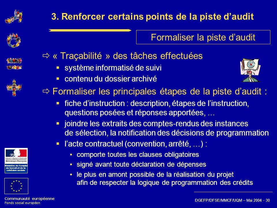 Communauté européenne Fonds social européen Ministère de lemploi du travail et de la cohésion sociale DGEFP/DFSE/MMCF/UQM – Mai 2004 - 30 3. Renforcer