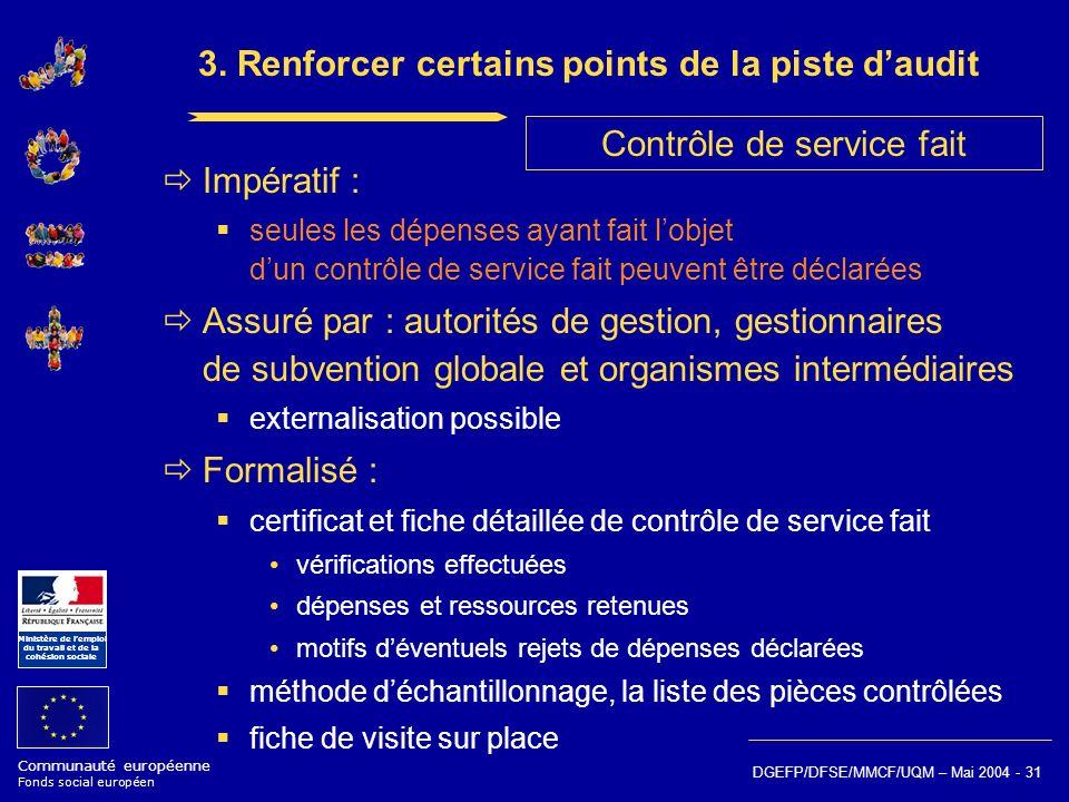 Communauté européenne Fonds social européen Ministère de lemploi du travail et de la cohésion sociale DGEFP/DFSE/MMCF/UQM – Mai 2004 - 31 3. Renforcer