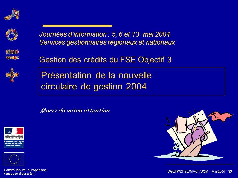 Communauté européenne Fonds social européen Ministère de lemploi du travail et de la cohésion sociale DGEFP/DFSE/MMCF/UQM – Mai 2004 - 33 Gestion des