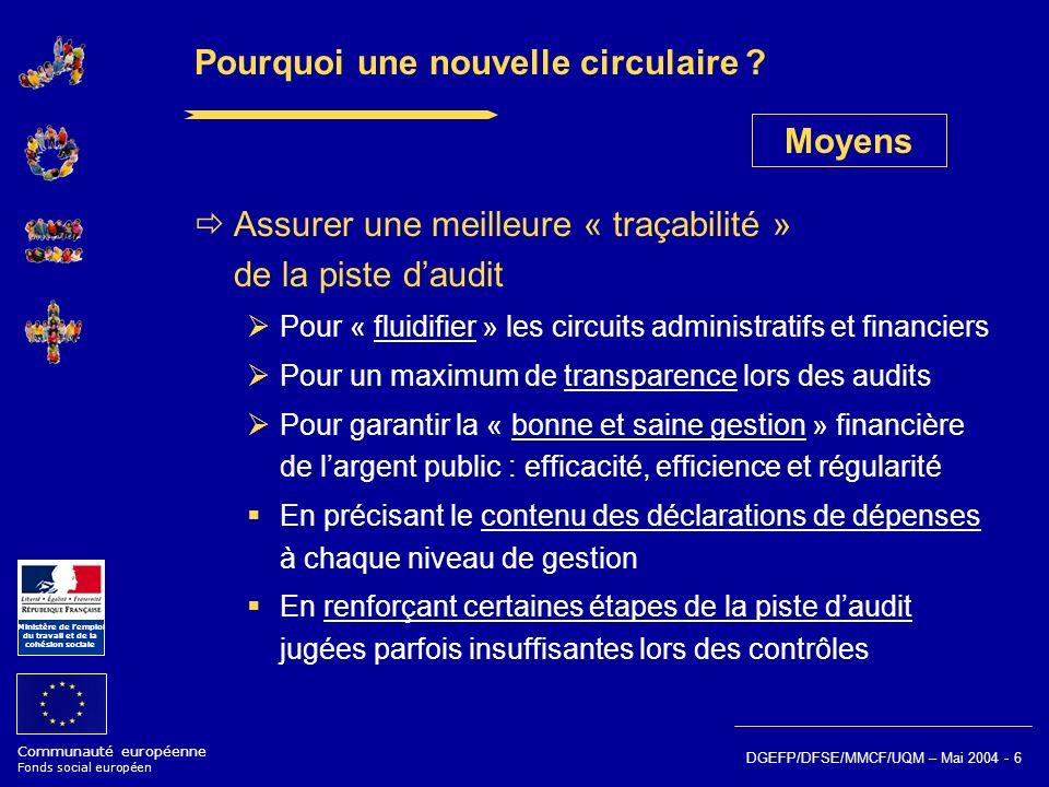 Communauté européenne Fonds social européen Ministère de lemploi du travail et de la cohésion sociale DGEFP/DFSE/MMCF/UQM – Mai 2004 - 6 Pourquoi une