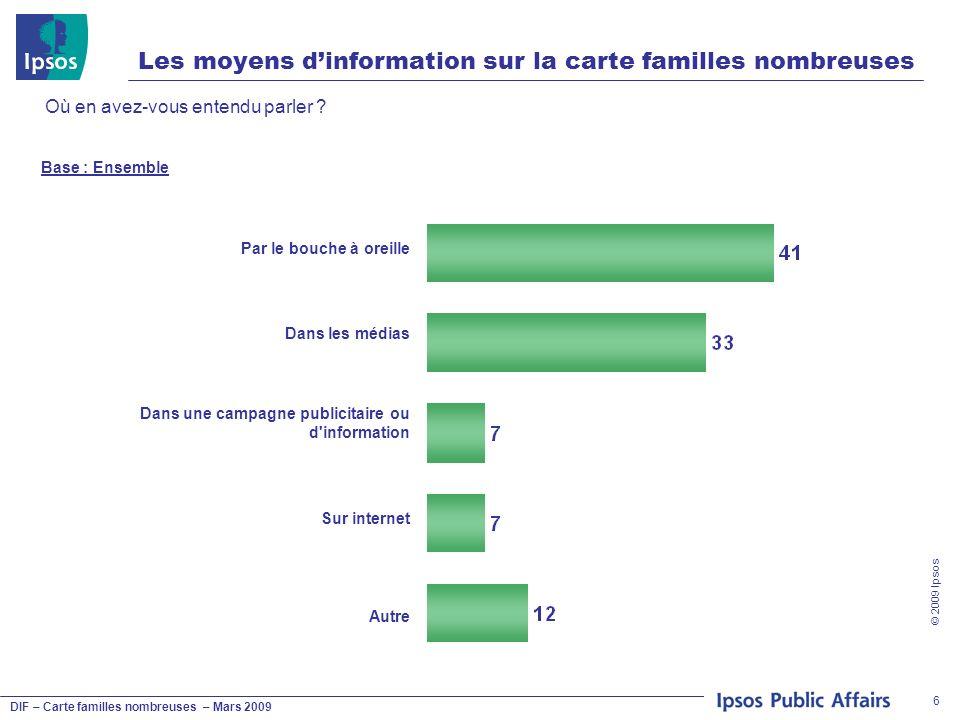 DIF – Carte familles nombreuses – Mars 2009 © 2009 Ipsos 6 Les moyens dinformation sur la carte familles nombreuses Où en avez-vous entendu parler ? B