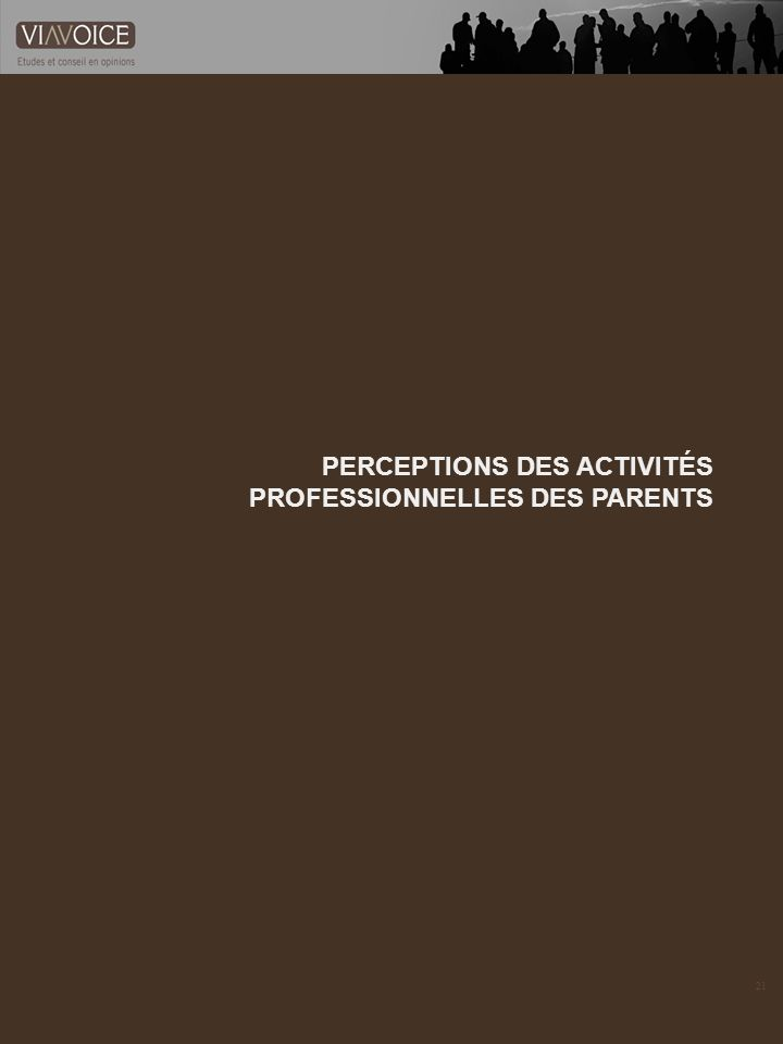 21 PERCEPTIONS DES ACTIVITÉS PROFESSIONNELLES DES PARENTS