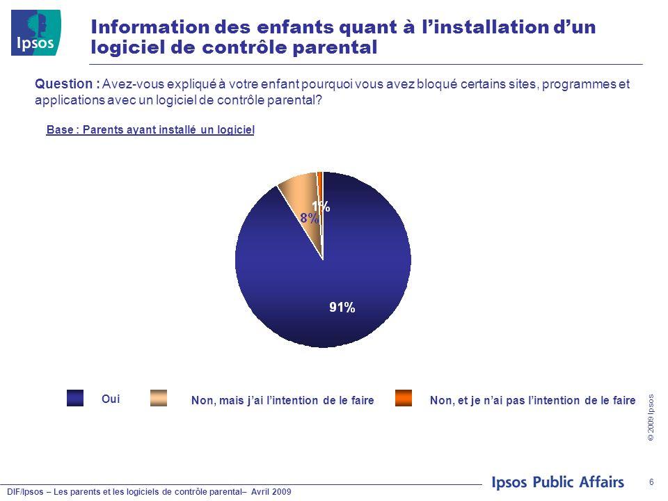 DIF/Ipsos – Les parents et les logiciels de contrôle parental– Avril 2009 © 2009 Ipsos 6 Information des enfants quant à linstallation dun logiciel de