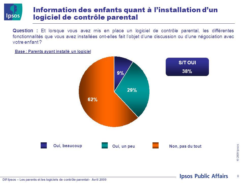 DIF/Ipsos – Les parents et les logiciels de contrôle parental– Avril 2009 © 2009 Ipsos 8 Information des enfants quant à linstallation dun logiciel de