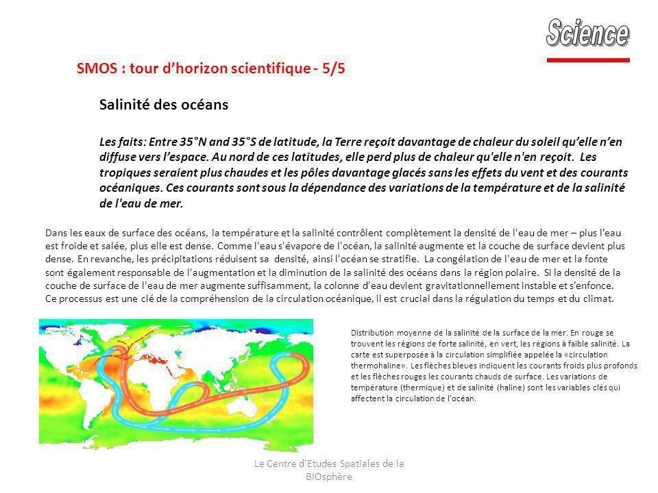 Le Centre dEtudes Spatiales de la BIOsphère Distribution moyenne de la salinité de la surface de la mer. En rouge se trouvent les régions de forte sal