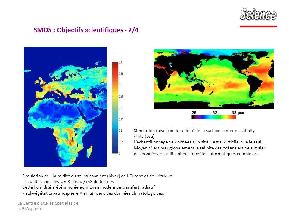 Le Centre dEtudes Spatiales de la BIOsphère Simulation (hiver) de la salinité de la surface la mer en salinity units (psu).