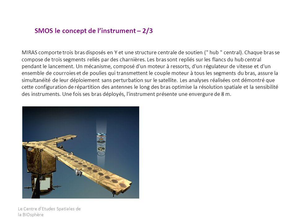 Le Centre dEtudes Spatiales de la BIOsphère MIRAS comporte trois bras disposés en Y et une structure centrale de soutien (