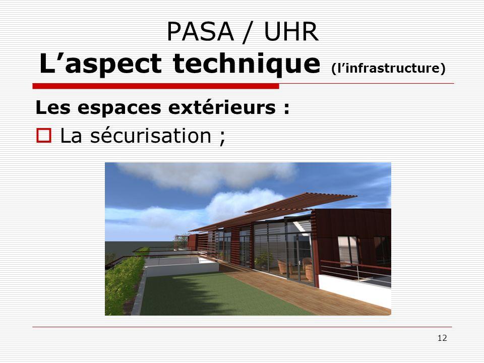 PASA / UHR Laspect technique (linfrastructure) Les espaces extérieurs : La sécurisation ; 12