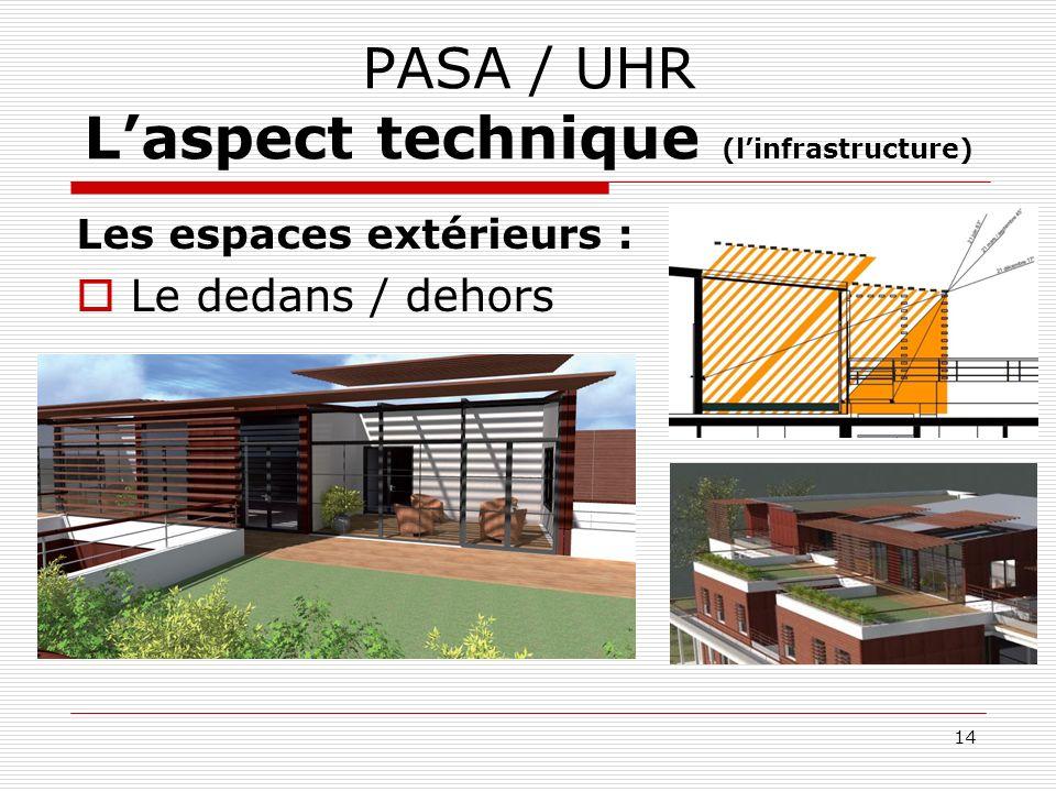 PASA / UHR Laspect technique (linfrastructure) Les espaces extérieurs : Le dedans / dehors 14