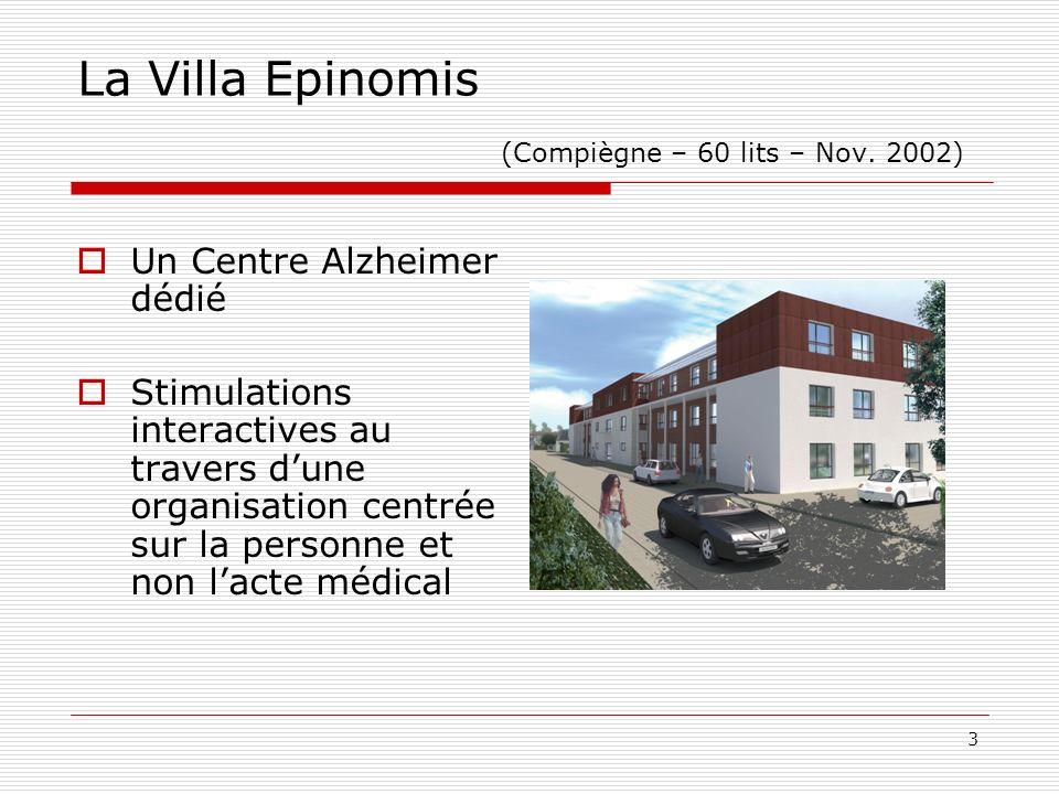 3 La Villa Epinomis (Compiègne – 60 lits – Nov. 2002) Un Centre Alzheimer dédié Stimulations interactives au travers dune organisation centrée sur la
