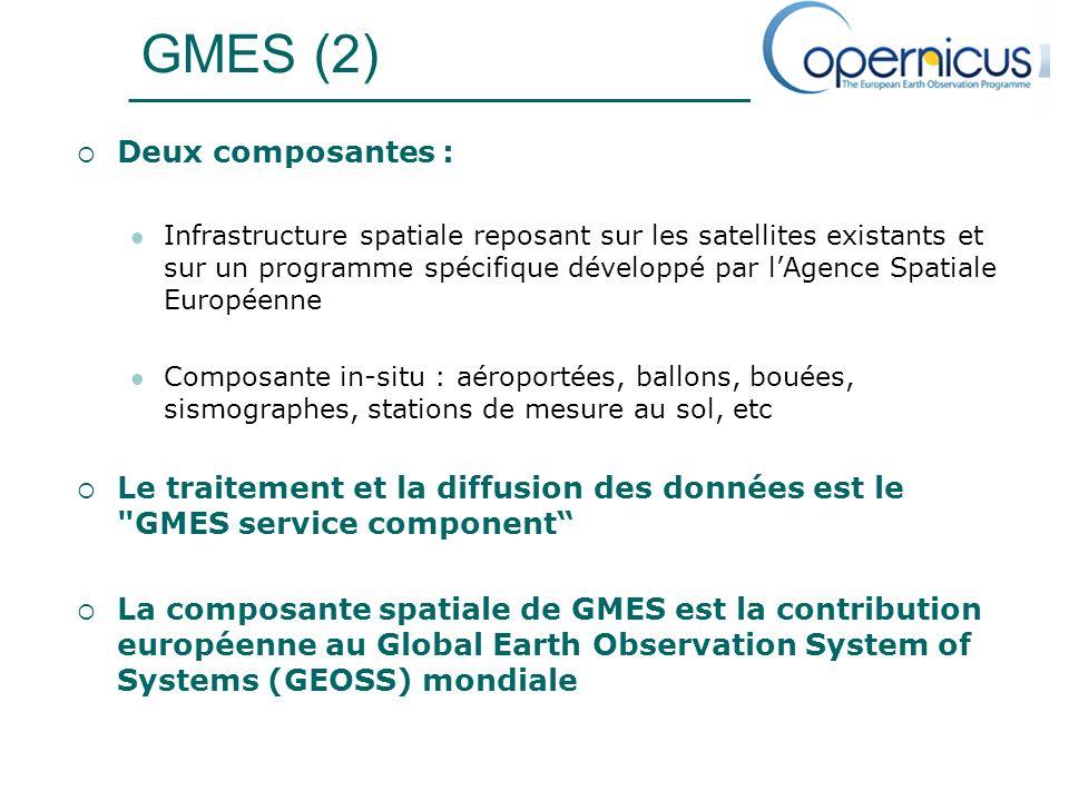 GMES (2) Deux composantes : Infrastructure spatiale reposant sur les satellites existants et sur un programme spécifique développé par lAgence Spatiale Européenne Composante in-situ : aéroportées, ballons, bouées, sismographes, stations de mesure au sol, etc Le traitement et la diffusion des données est le GMES service component La composante spatiale de GMES est la contribution européenne au Global Earth Observation System of Systems (GEOSS) mondiale