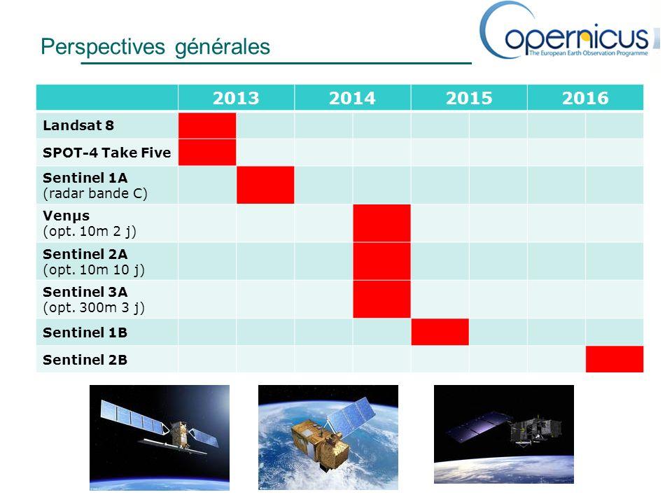 Perspectives générales 2013201420152016 Landsat 8 SPOT-4 Take Five Sentinel 1A (radar bande C) Venµs (opt.