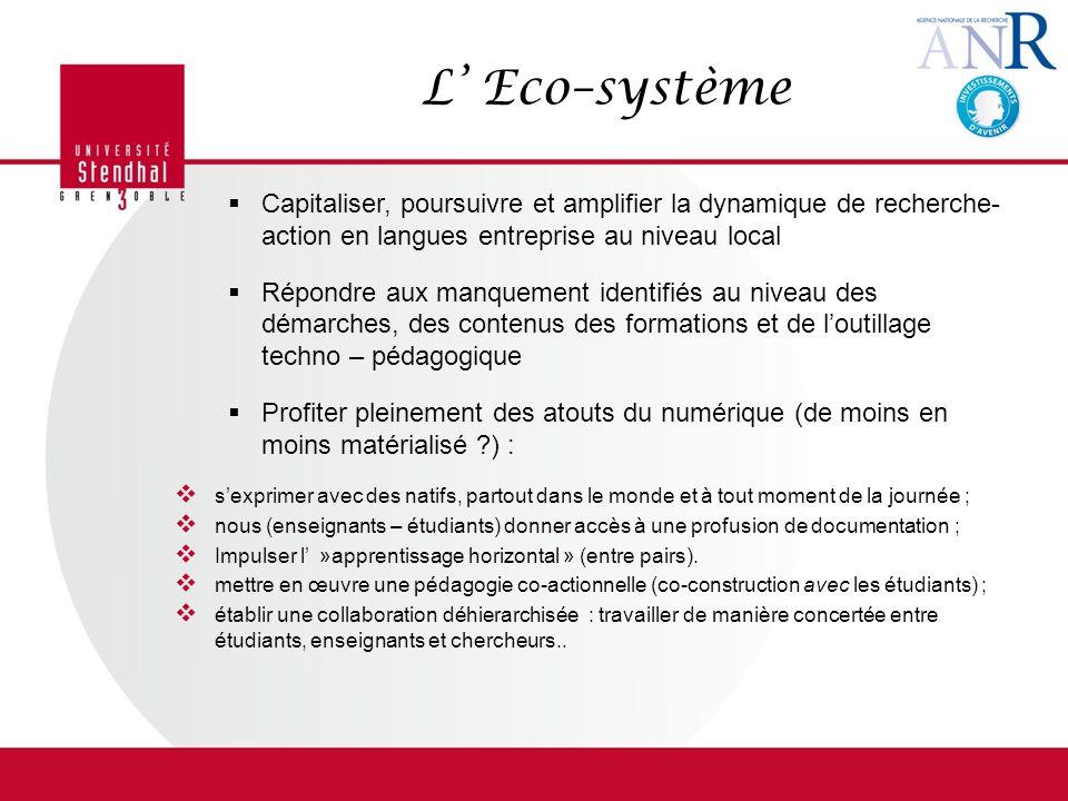 L Eco–système Capitaliser, poursuivre et amplifier la dynamique de recherche- action en langues entreprise au niveau local Répondre aux manquement ide