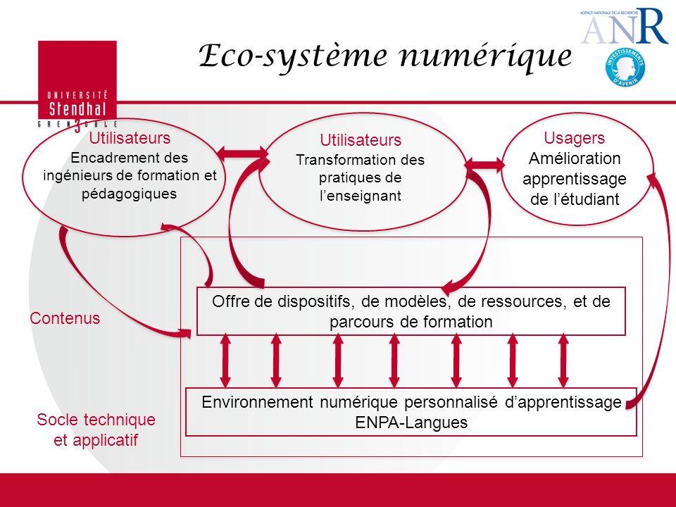 Eco-système numérique Environnement numérique personnalisé dapprentissage ENPA-Langues Offre de dispositifs, de modèles, de ressources, et de parcours