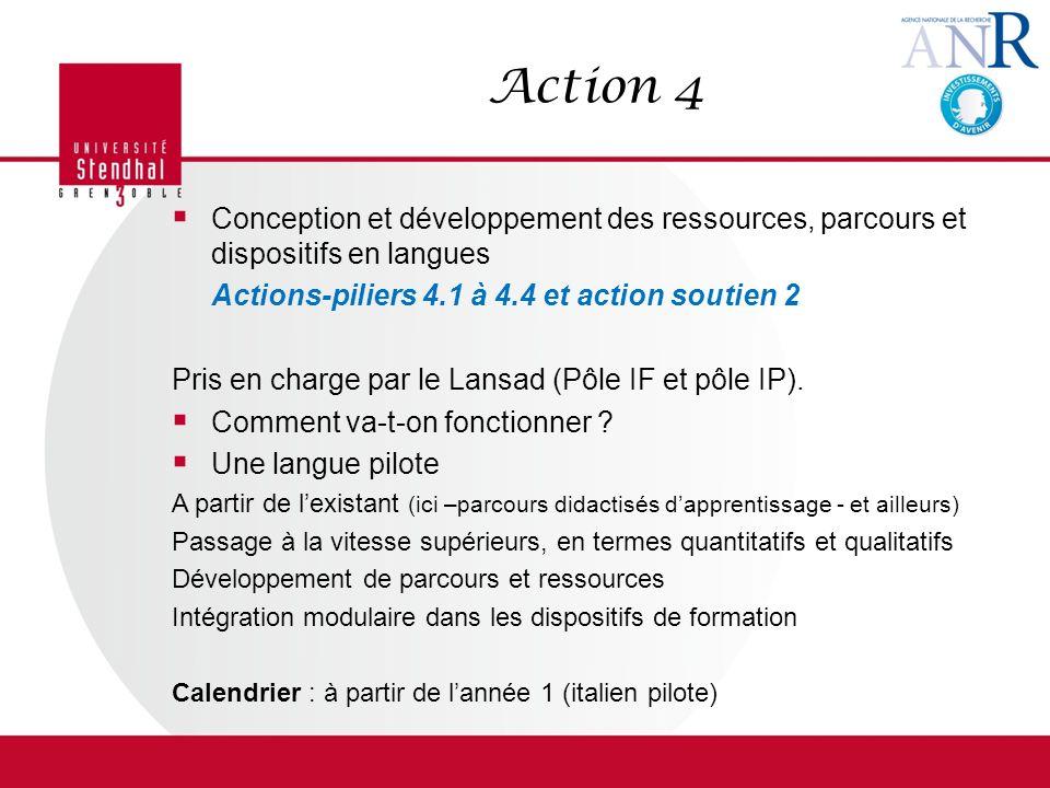 Action 4 Conception et développement des ressources, parcours et dispositifs en langues Actions-piliers 4.1 à 4.4 et action soutien 2 Pris en charge par le Lansad (Pôle IF et pôle IP).