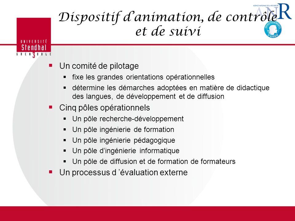 Dispositif danimation, de contrôle et de suivi Un comité de pilotage fixe les grandes orientations opérationnelles détermine les démarches adoptées en