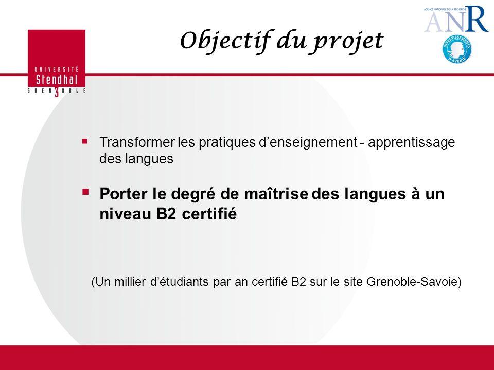 Objectif du projet Transformer les pratiques denseignement - apprentissage des langues Porter le degré de maîtrise des langues à un niveau B2 certifié (Un millier détudiants par an certifié B2 sur le site Grenoble-Savoie)