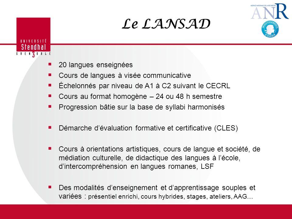 Le LANSAD 20 langues enseignées Cours de langues à visée communicative Échelonnés par niveau de A1 à C2 suivant le CECRL Cours au format homogène – 24