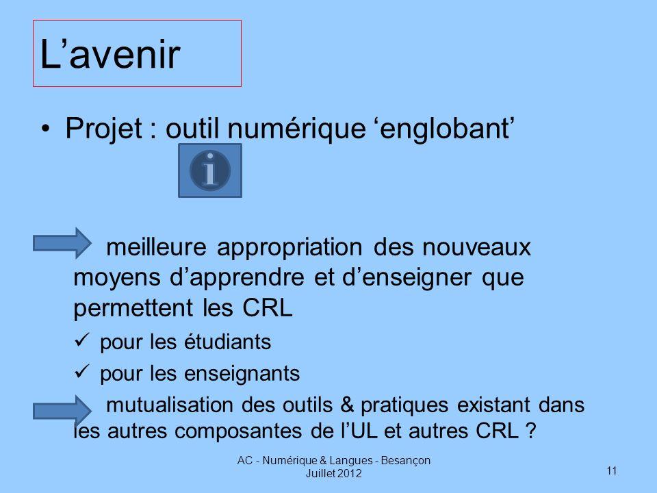 Lavenir Projet : outil numérique englobant meilleure appropriation des nouveaux moyens dapprendre et denseigner que permettent les CRL pour les étudia