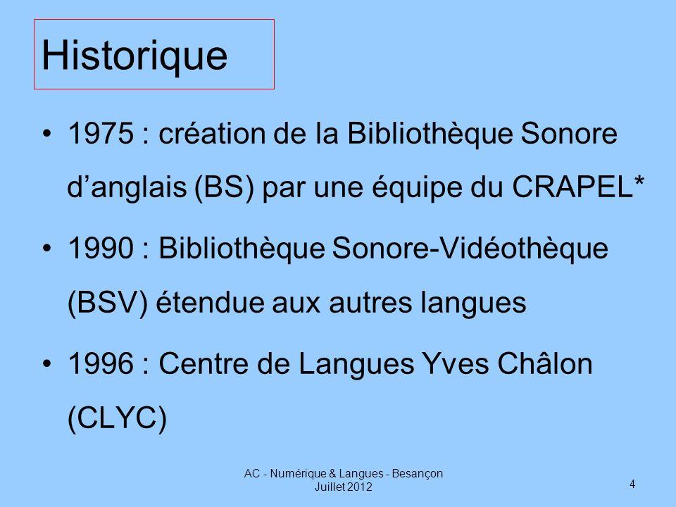 Historique 1975 : création de la Bibliothèque Sonore danglais (BS) par une équipe du CRAPEL* 1990 : Bibliothèque Sonore-Vidéothèque (BSV) étendue aux