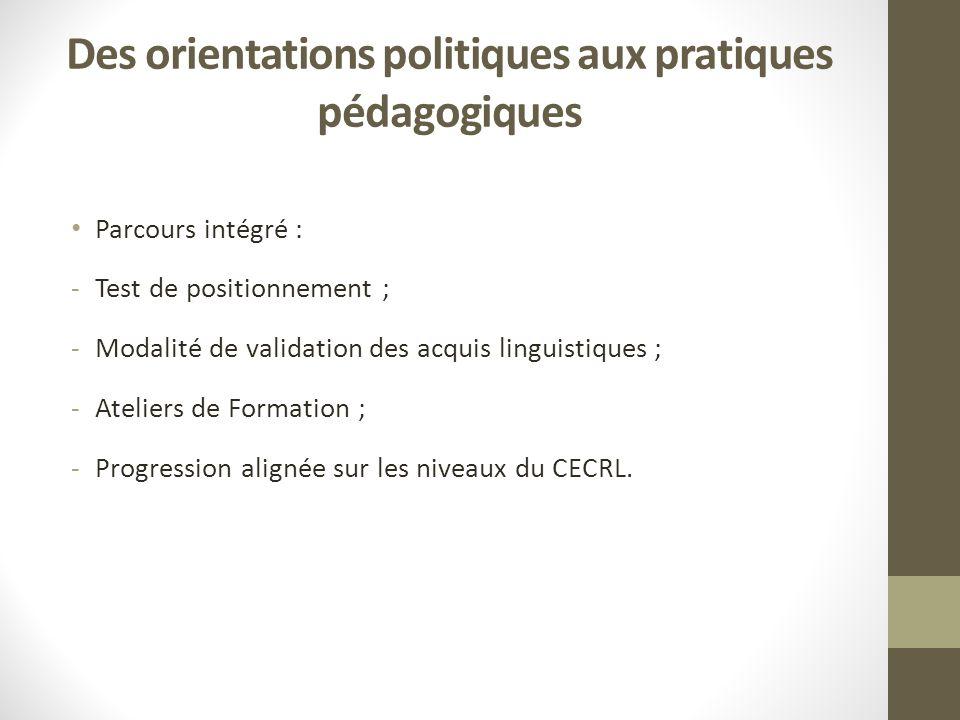 Des orientations politiques aux pratiques pédagogiques Parcours intégré : -Test de positionnement ; -Modalité de validation des acquis linguistiques ; -Ateliers de Formation ; -Progression alignée sur les niveaux du CECRL.