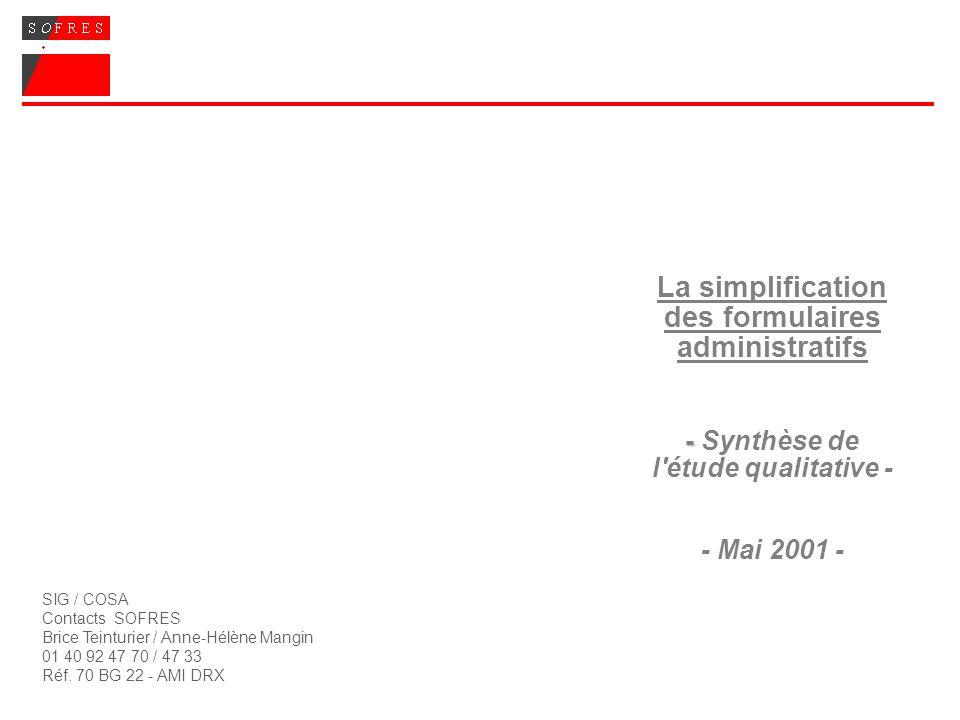SIG / COSA Contacts SOFRES Brice Teinturier / Anne-Hélène Mangin 01 40 92 47 70 / 47 33 Réf. 70 BG 22 - AMI DRX - La simplification des formulaires ad