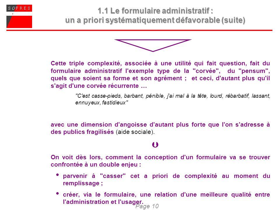 Page 10 1.1 Le formulaire administratif : un a priori systématiquement défavorable (suite) Cette triple complexité, associée à une utilité qui fait qu