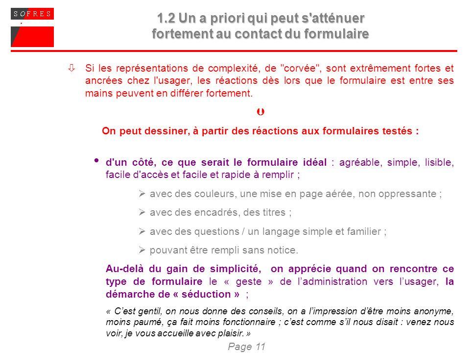 Page 11 1.2 Un a priori qui peut s'atténuer fortement au contact du formulaire Si les représentations de complexité, de