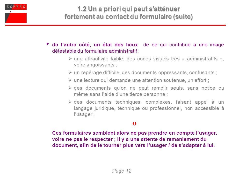 Page 12 1.2 Un a priori qui peut s'atténuer fortement au contact du formulaire (suite) de lautre côté, un état des lieux de ce qui contribue à une ima
