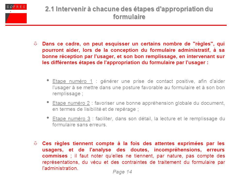Page 14 2.1 Intervenir à chacune des étapes d'appropriation du formulaire Dans ce cadre, on peut esquisser un certains nombre de
