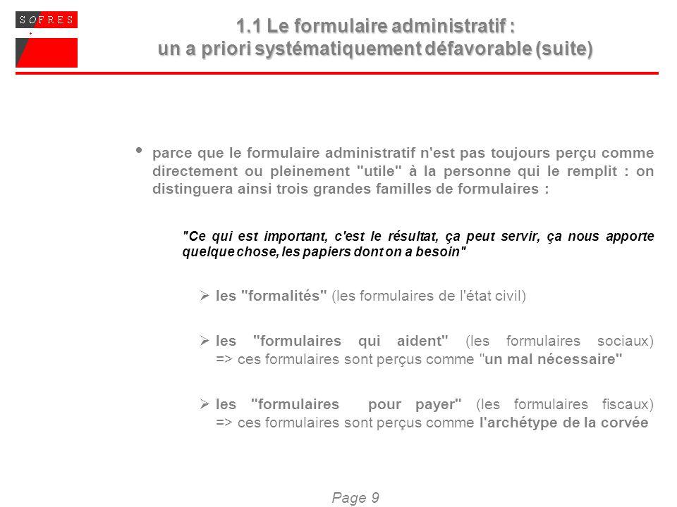 Page 9 1.1 Le formulaire administratif : un a priori systématiquement défavorable (suite) parce que le formulaire administratif n'est pas toujours per